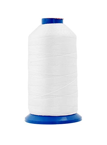 Mandala Crafts Bonded Nylon Thread for Sewing Leather, Upholstery, Jeans and Weaving Hair; Heavy-Duty (T90 #92 280D/3, White)