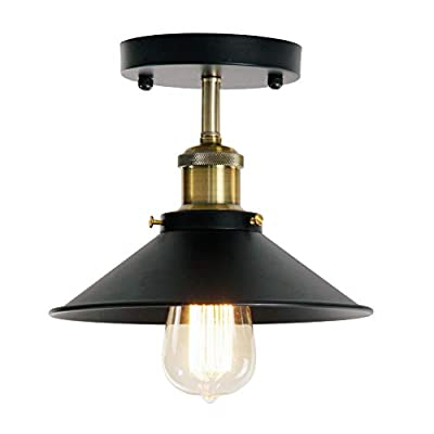 Wereal Flush Ceiling Light Industrial Vintage Style Mounting Lighting Fixture Finish, E26 Base Hallway Modern Home Kitchen Lamp …
