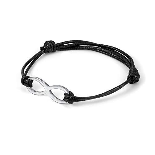 Zysta Verstellbar Unendlichkeit Leder Armband mit Infinity Symbol Freundschaft Armband für Damen Mädchen (Schwarz)