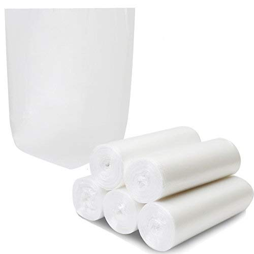 4 Gallon Trash Bags, Garbage Bags Waste Bin Strong Wastebasket Liners Bags for Kitchen Home Bedroom Bathroom Office-125 Counts (Clear White)