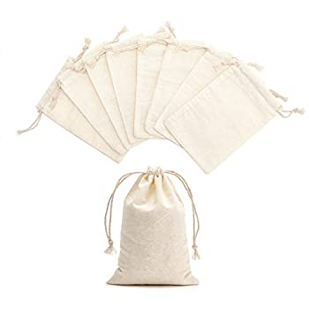 Tendwarm 20 Pieces 4x6 Inches Cotton Drawstring Bags Reusable Muslin Sachet Bag for Party Wedding Storage Home Supplies