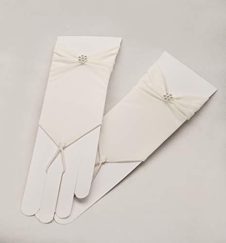 Zauberkutsche Brauthandschuhe fingerlos Braut Handschuhe Perlen Hochzeit Weiß Ivory Satin Stulpen (Ivory) - 5