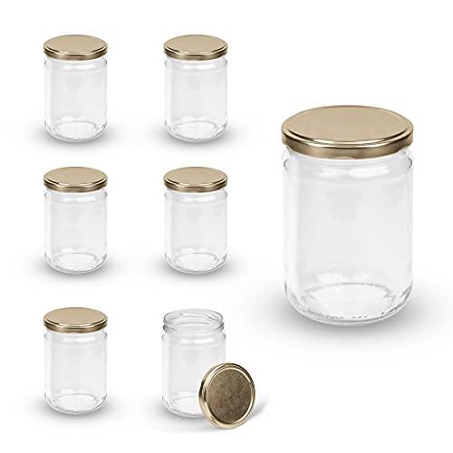 Rekean - Tarro de cristal de conservación – Juego de 6 tarros herméticos – Fabricación francesa – Práctica – Tarros con tapa Ø 82 para la conservación seca de los alimentos – 580 ml oro