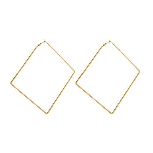 Extra Large Square Hoop Earrings for Women Metal Dangle Earring (Gold)
