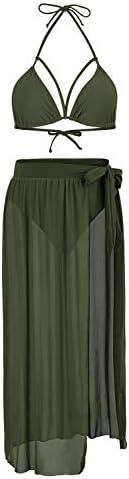 Kisscynest Women's Halter Neck Cut Out 3 Pieces Swimwear with Mesh Maxi Skirt