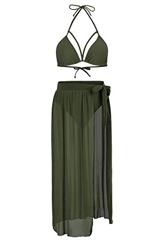 Kisscynest Women's Straps Cut Out Mesh Maxi Skirt Coverup Three Pieces Swimsuit L Army Green