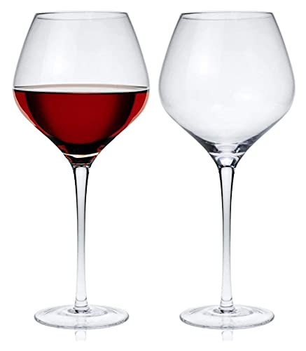 RRUUGK Copa de Vino de Cristal de 2 Piezas Copa de Vino Tinto Vidrio Burdeos de Vidrio Pinot Noir Vidrio Conjunto para Uso Diario formal-21 oz / 620 ml