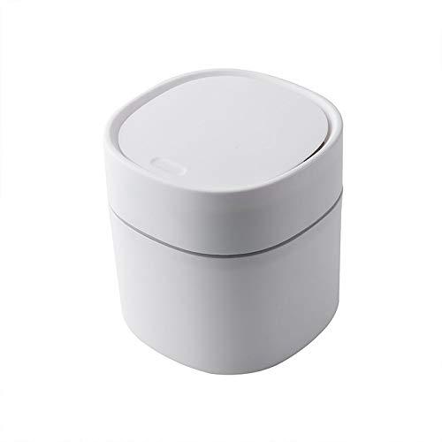 A-hyt Cubo de basura pequeño pequeño cubo de basura de escritorio, mesa de menaje, suministros de oficina, papelera, papelera, caja de barril (color: blanco, tamaño: mediano)