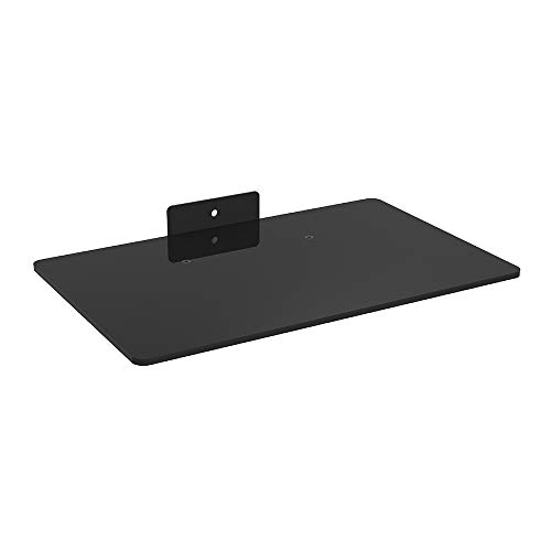 """Mount World 1443 Compact Glass Component Single Shelf for DVD Player, Blu-ray Player, Cable Box, Satellite, Wii and Video Accessories (14.17"""" Wide X 9.84"""" Deep X 1"""" Height)"""
