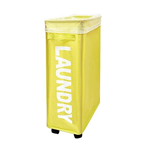 Rtlia 22.8 pulgadas Cesta de lavandería de rodillos,lavandería Caja de almacenamiento de bolsas de lavandería a prueba de agua para lienzo-amarillo