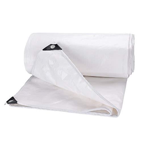 LHR Tarpaulin Waterproof Heavy Duty Plastic Waterproof Tarpaulin Thicken White Rainproof Cloth Outdoor Truck Canopy Rainproof Sunscreen Shade 10x12m (Color : WHITE, Size : 8X10M)