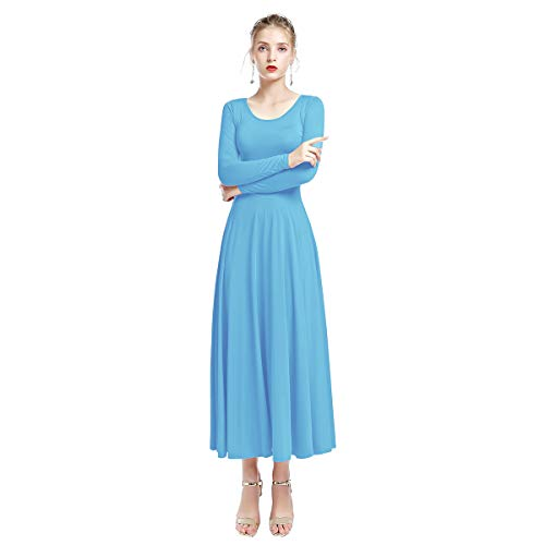 FYMNSI Damen Langarm Maxi Kleid Langes Einfarbiges Faltenkleid Freizeitkleid Elegant Abendkleid A...