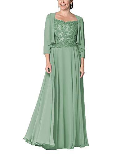 HUINI Mutter Hochzeitskleid Abendkleid Lang Elegant Ballkleid Groß Größen Brautmutterkleid mit Ärmel Partykleid Salbei 36