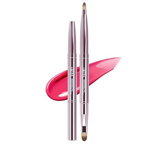 NCTM Pinceau de Maquillage Portable à Double tête Pinceau à lèvres Lip Contour Ligne Rose Vif d'or Anti-poussière Profession télescopique
