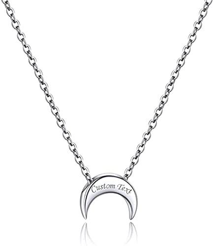 HUIQ Nombre Modificado para requisitos particulares Collar de Luna de Plata para Mujeres Día de San Valentín Regalo para su joyería de Luna Colgante de Plata esterlina