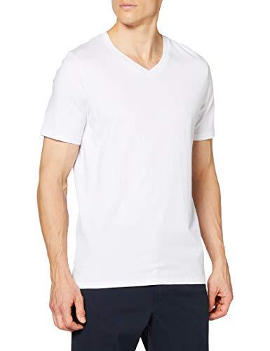 Jack & Jones Jjeplain tee SS V-Neck Noos Camiseta, Blanco (White Detail: Slim Fit), Large para Hombre