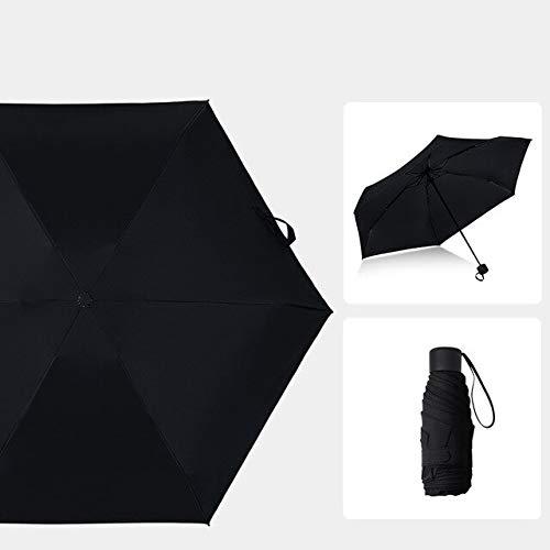 NJSDDB paraplu paraplu met vijf-voudige niet-automatische paraplu's 6 bot effen kleur Unisex paraplu regen vrouwen en mannen in Sunny en Rainy, Zwart