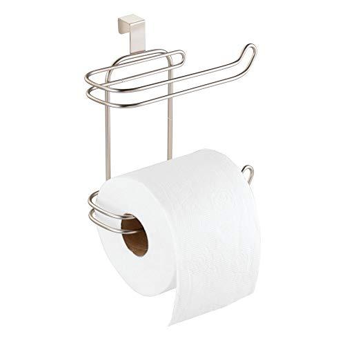 mDesign Portarrollos sin taladro – Innovador soporte para papel higiénico para acoplar a la cisterna – Capacidad para 2 rollos de papel higiénico – Apliques de baño – Metal plateado