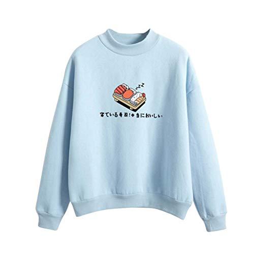 iHENGH Damen Top Bluse Lässig Mode T-Shirt Frühling Sommer Frauen Bequem Blusen Langarm Lose Sushi Gedruckt Sweatshirt Tops (Hellblau, M)