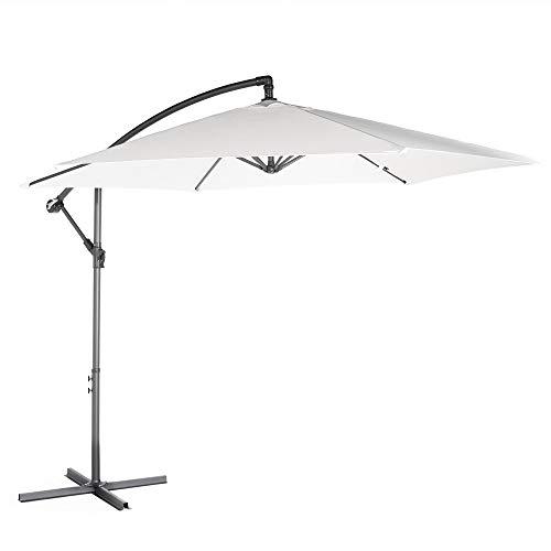 VonHaus Ampelschirm 300 cm - Überhängender Sonnenchirm mit Kurbelvorrichtung - UV50+ Schutz - Starker Stahl (Elfenbein)