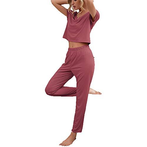 ZFQQ Primavera y Verano, Ropa de hogar para Damas, Blusa de Manga Corta con Cuello Redondo y pantalón, Traje Informal