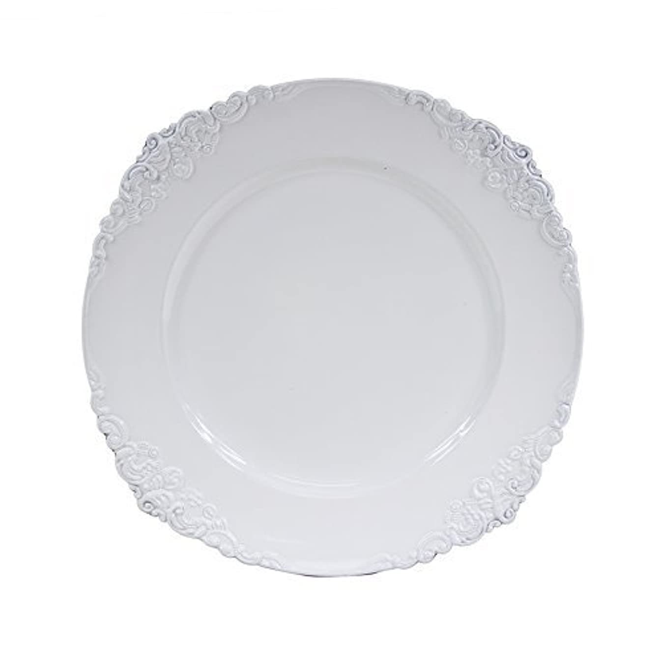 Koyal Wholesale Vintage Charger Plate, White (Pack of 4)