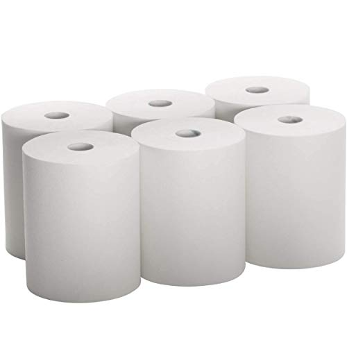 Industrial Paper Towels 10 x 800 White Roll Towels High Capacity Premium Quality (TAD Fabric Cloth Like Texture) Fits Touchless Automatic Commercial Towel Dispenser (Packed 6 Rolls)