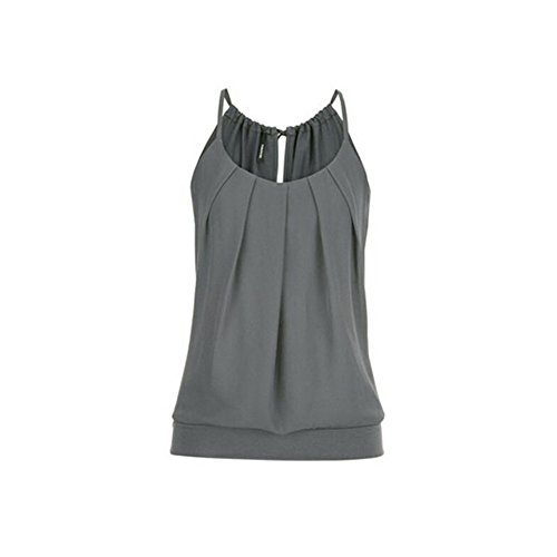 Lazzboy Damen T Shirt Tank Top Sommer Oberteile Blusen Ärmellos Stretch Tunika Top Sexy(Grau,4XL)