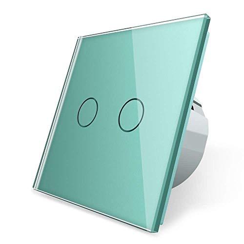 Interruptor de persiana Livolo Touch VL-C702W-18, verde, multicolor, 2 vías, interruptor de luz, interruptor de pared, un compartimento alto, marco de cristal