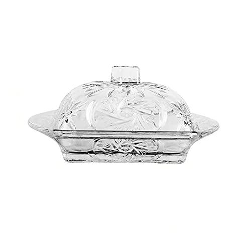 Mantenga la comida fresca Plato de mantequilla de vidrio plato de pan en relieve de punto con tapa de postre plato de recipiente de mantequilla adecuado para restaurantes y hoteles familiares