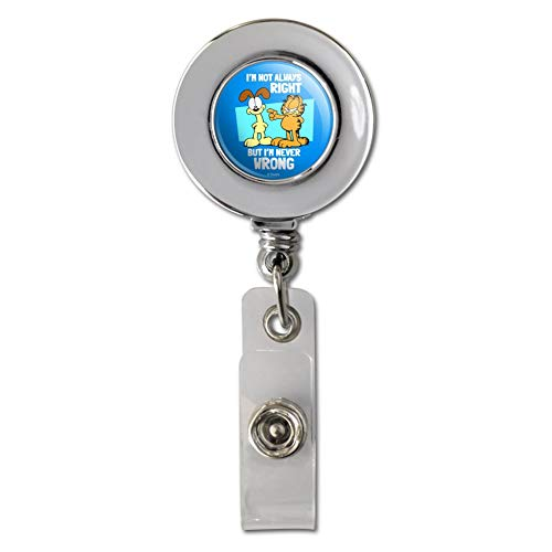 Garfield and Odie I'm Never Wrong Retractable Reel Chrome Badge ID Card Holder Clip