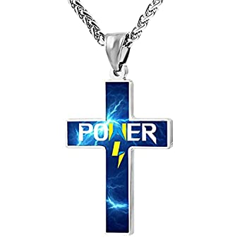 NINmun Lach-lan Power Personalized Cross Necklace Zinc Alloy for Young Men Women Religious Jewelry Pendant Necklace Black