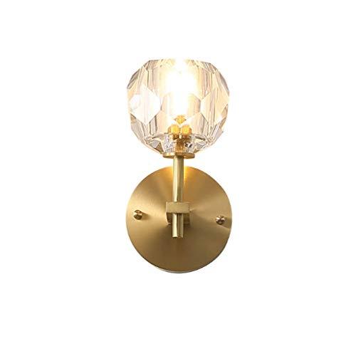 Aplique de pared Pared de cristal Luz de noche lámpara de pared lámpara de pared moderna for el dormitorio de la sala Nordic Industrial bar pasillo Iluminación lámpara de pared (Color : Gold)