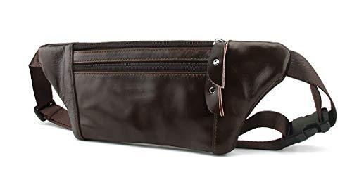 Bauchtasche Gürteltasche Hüfttasche für Damen und Herren Modisch Weiches Echtleder für Outdoor, Wandern, Reisen, Freizeit, Camping, Urlaub (Dunkelbraun)