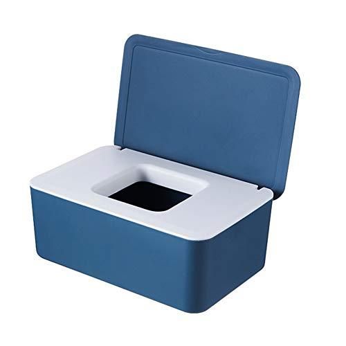 QKFON Förvaringslåda för våtservetter, våtservetter, för torra och våta silkespapper, servetthållare, våtservetter, dispenserhållare med lock för hem och kontor (blå vit)