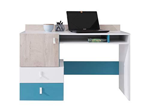 Furniture24 Schreibtisch Planet PL-9 mit 2 Schubladen und 1 Tür, Schülerschreibtisch, Arbeitstisch, Computertisch (Weiß/Eiche/Marine)