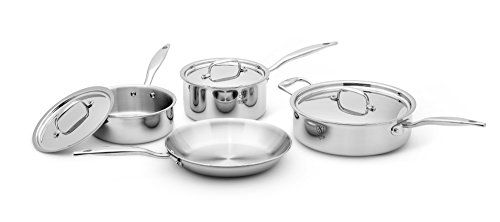 Heritage Steel 7 Piece Cookware Set - Titanium Strengthened 316Ti Stainless Steel with Multiclad Construction - Induction-Ready and Dishwasher-Safe, Made in USA