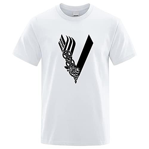 XBOMEN Camiseta Nórdica Vikinga Para Hombre, Verano Con Estampado Digital 3D Odin Thor's Hammer Crow Compass Estampado Animal Mangas Cortas, Mitología Retro Camisa Fresca (Color :...