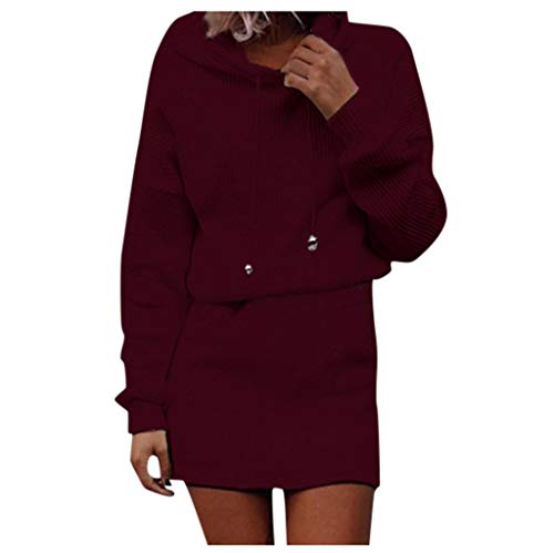 Daysing Damen Langarm Strickkleid 2020 Herbst und Winter Neue Kapuzenpullover lässig einfarbig Sweatshirt Minirock