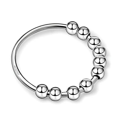 925 Silver Anti-Anxiety Ring – Fidget Spinner Ring – Anxiety Ring Spinner – Beaded Ring – Worry Ring – Premium 925 Silver – Silver or Gold, For Men & Women…