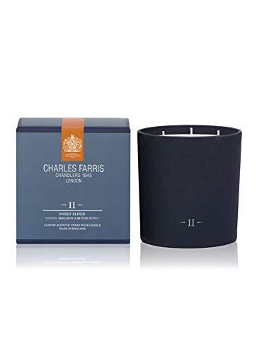 Charles Farris Sweet Elixir, luxe drie kaarsen in getextureerde blauwe glazen pot - zoete honing, gemengd met fruitige noten van kersen en citrus