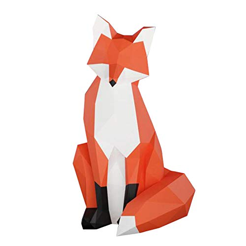 Allegorly DIY Papercraft Kit, Panda Fuchs papiermodell, 3D Origami Kit von Hand zusammenzubauen, Heimdekoration, Geschenk, Origami 3D, Papier Handwerk,Puzzle 3D Panda, Fuchs