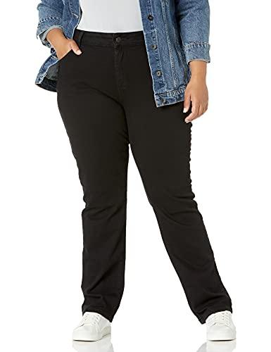 Lee Women's Plus Size Relaxed Fit Straight Leg Jean, Black Onyx, 26W Medium