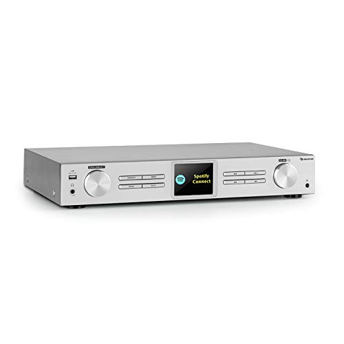 auna iTuner 320 BT digitaler HiFi-Tuner, Bluetooth-Funktion, Spotify Connect, App-Bedienung, WLAN, Internet-, DAB+ und UKW-Tuner, DLNA & UPnP, USB-Anschluss, Netzwerk-Mediaplayer, Silber