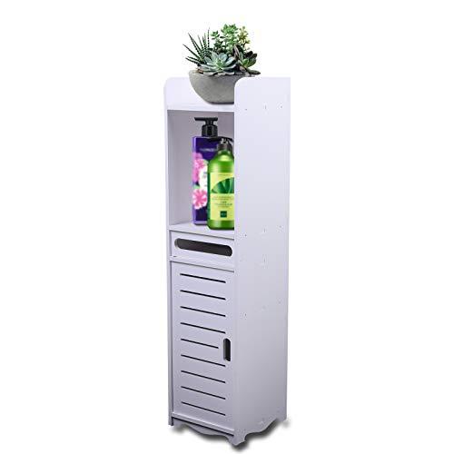 Armario alto para baño, armario auxiliar de madera, armario de baño independiente, estantería de baño estrecha, armario esquinero para lavadero, salón, cocina, color blanco, 80 x 20 x 20 cm
