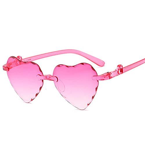 MSYOU - Gafas de sol clásicas sin marco, color degradado, con forma de corazón, para mujer y niña, color rosa