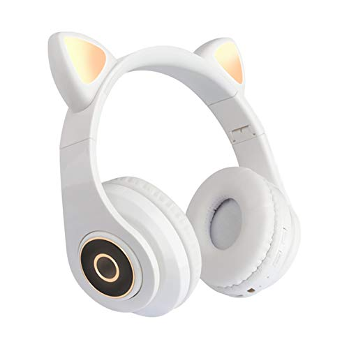 Ear-Hook Cat Headset, Bluetooth Wireless with Led Light Foldable Volume Control Long Battery Life Design, Can Be Used on All Smartphones and Tablets (Color : White)