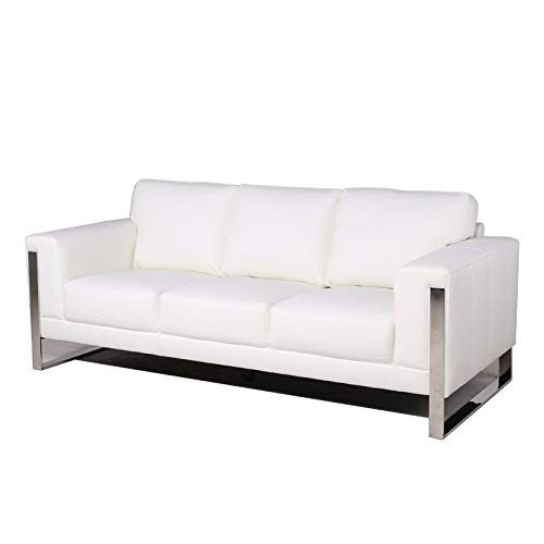 MAKLAINE Leather Sofa with Metal Leg in White