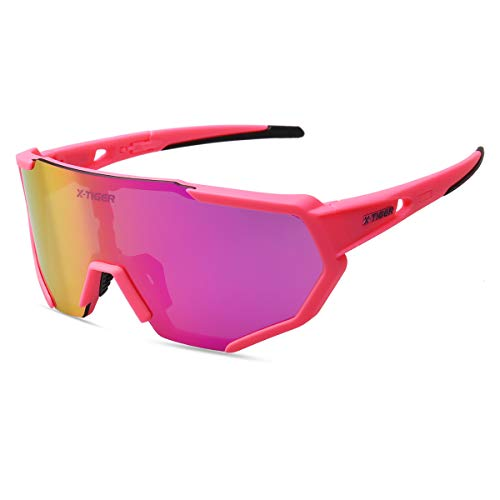 X-TIGER Polarised Sports Sunglasses Cycling Glasses Tr90 Superlight Frame with 3 Interchangeable Lenses UV400 Protection for Men Women (pink)