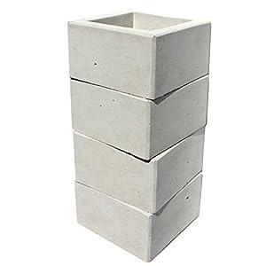 gestapelt | Beton-Vase aus einem Guss | wasserdicht mit Oberflächenschutz | Design für Haus und Garten | Höhe: 24 cm